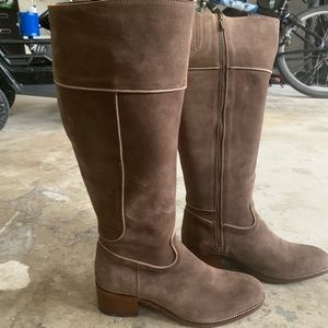 Genuine suede tall boots